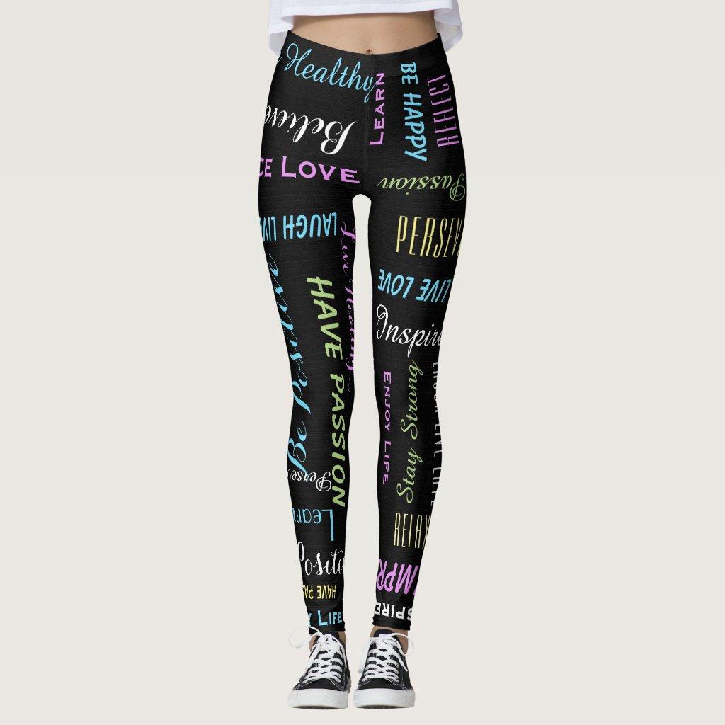 Inspirational Motivational Black and Pastel Yoga Leggings