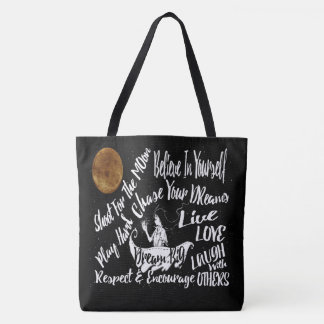 Inspirational Motivational Quote Stars @ Night Tote Bag