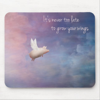 Inspirational mousepad-flying pig mouse mat