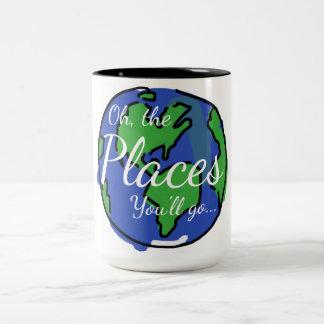Inspirational mug, travel, world Two-Tone coffee mug