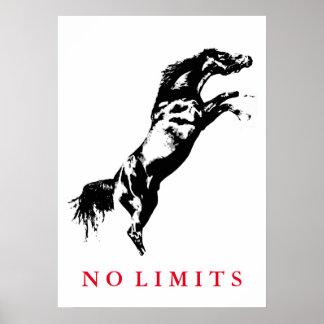 Inspirational No Limits Black White Horse Artwork Poster