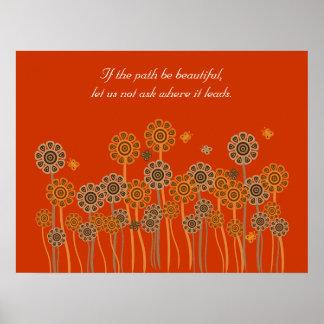 Inspirational orange retro garden poster