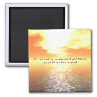 Inspirational Orange Sunset Over Calm Sea Magnet