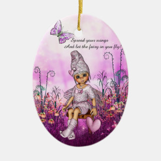 Inspirational Pink Fairy Christmas Ornament