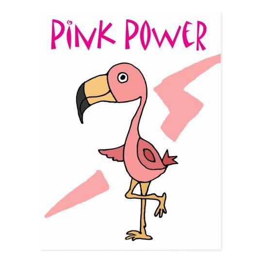 Inspirational Pink Power Flamingo Bird Postcard