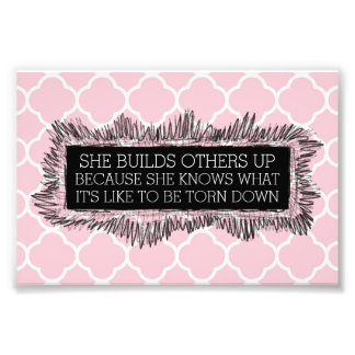 Inspirational Pink Quatrefoil Photo Print