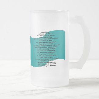 Inspirational Poem Frosted Glass Beer Mug
