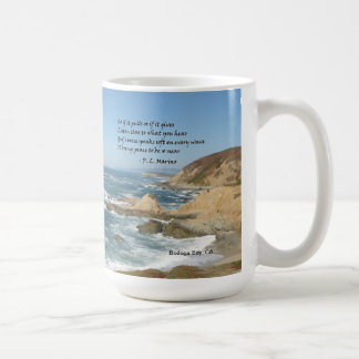 Inspirational poem on a mug with location tag