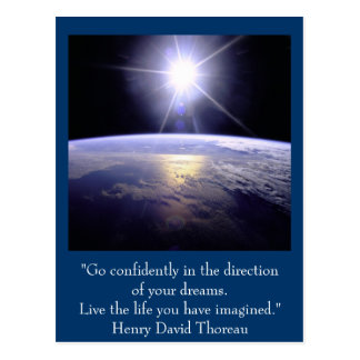 Inspirational postcard. Quote: Henry David Thoreau Postcard