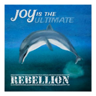 Inspirational Poster: Dolphin Joy Quote Poster