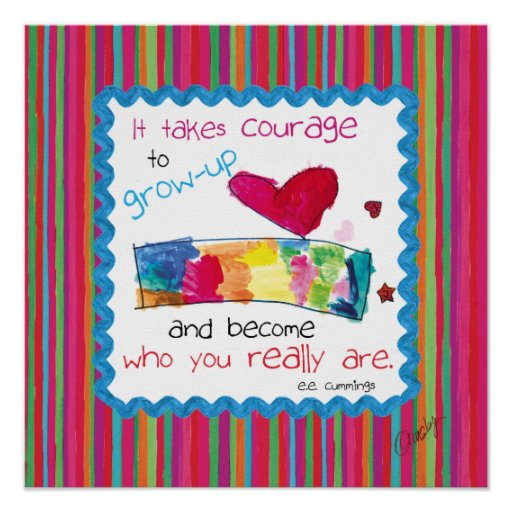 Inspirational poster with kid's art of a heart