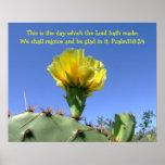 inspirational psalm poster cactus flower