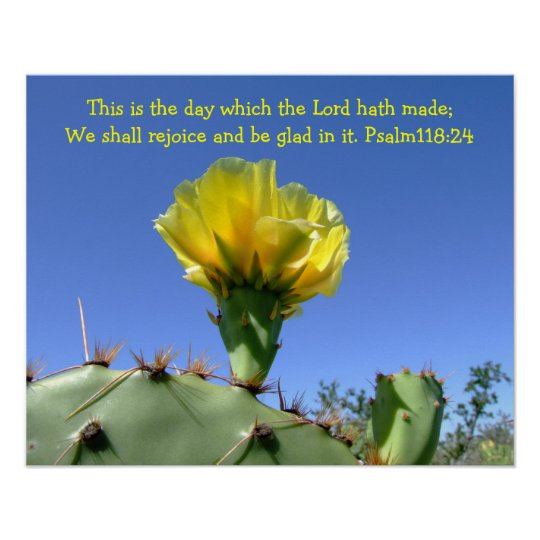 inspirational psalm poster cactus flower