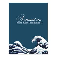 "Inspirational Quote Art Print ""A smooth Sea"" decor Postcard at Zazzle"
