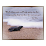 Inspirational Quote Baby Sea Turtle Sand Ocean Poster