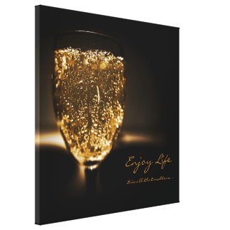Inspirational Quote Champagne Flute Gold Sparkling Canvas Print