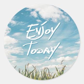 "Inspirational  Quote ""Enjoy Today""  Green Field Round Sticker"