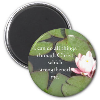 Inspirational Quote from  Bible - Philippians 4:13 6 Cm Round Magnet