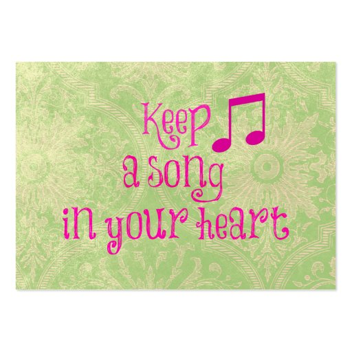 inspirational quote keep a song in your heart business cards