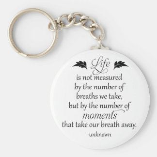 Inspirational Quote: Life is not measured... Basic Round Button Key Ring