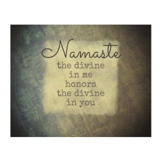 inspirational quote namaste text art on wood