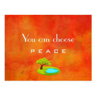 Inspirational Quote on Peace Abstract Painting Postcard