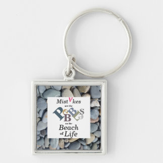 Inspirational Quote Pebble Stones Square Keychain