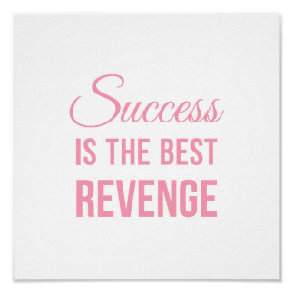 Inspirational Quote Poster Success White Pink
