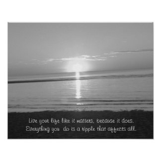 Inspirational Quote Poster with Beach Sunset