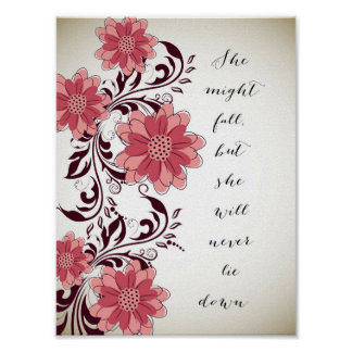 Inspirational Quote Poster - Won't Lie Down