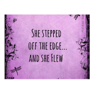 Inspirational Quote: She Stepped off the Edge and Postcard
