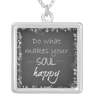 Inspirational Quote: Soul Happy Square Pendant Necklace