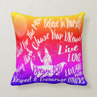 Inspirational Quote Stars @ Night Lighthouse Route Throw Pillow