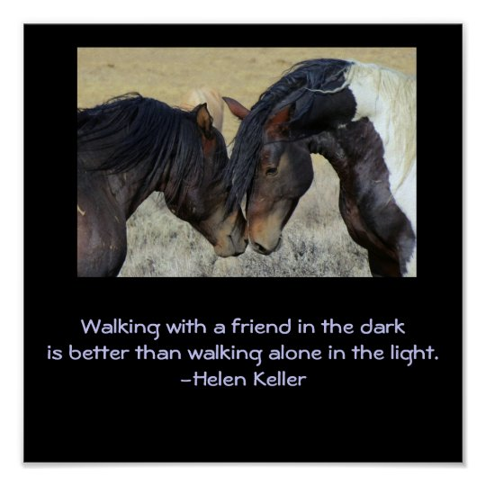 Inspirational Quote.Two Brown Wild Horses Nuzzling Poster