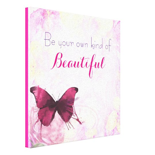 Inspirational Quote With A Watercolor Butterfly Canvas Print