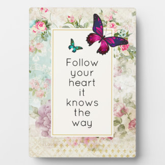 Inspirational Quote with Pretty Butterflies Plaque