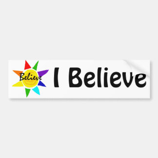 Inspirational Rainbow Sun Believe Art Bumper Sticker