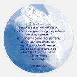 Inspirational Scripture Angel In Clouds, Romans Round Sticker