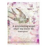 Inspirational Shakespeare sister quote Postcard