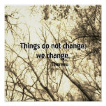 inspirational Thoreau quote poster on nature art
