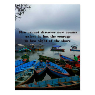 Inspirational Travel quote DISCOVERY boat photo Postcard