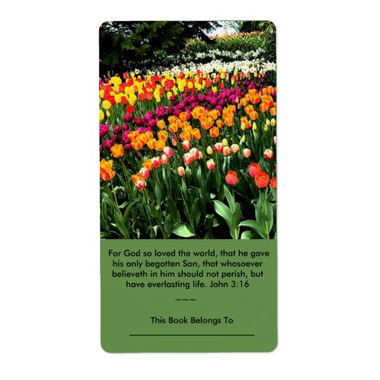 Inspirational tulip label may be used as bookplate shipping label