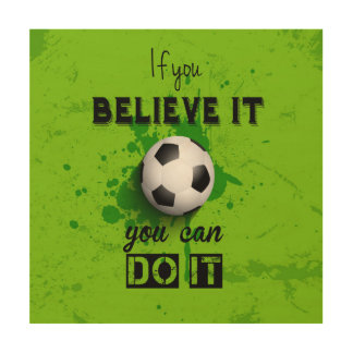 Inspirational typography football quote wood print