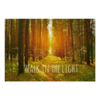 Inspirational Walk in the Light Bible Verse Poster