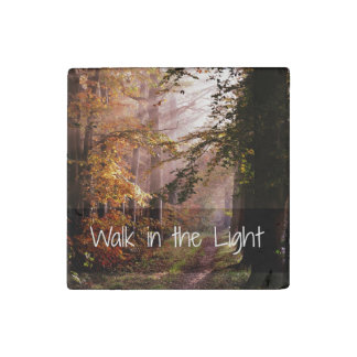Inspirational Walk in the Light Bible Verse Stone Magnet