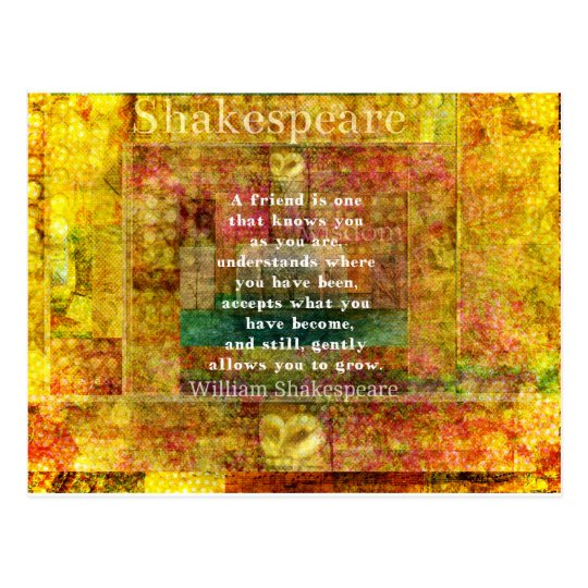 Inspirational William Shakespeare Quote FRIENDSHIP Postcard