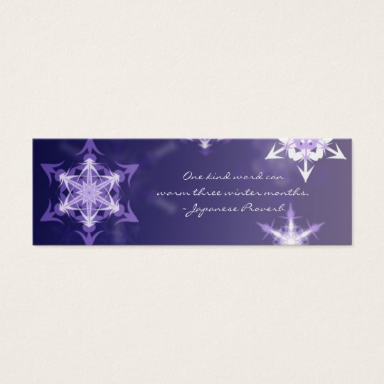 Inspirational winter snowflake bookmark with quote mini business