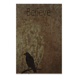 Inspirational Words Believe with Vintage Crow Personalized Stationery