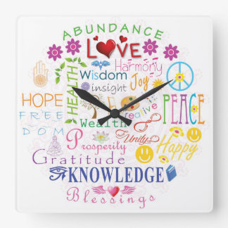 Inspirational Words Square Wall Clock