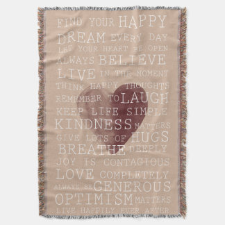 Inspirational Words Watercolor Heart Throw Blanket